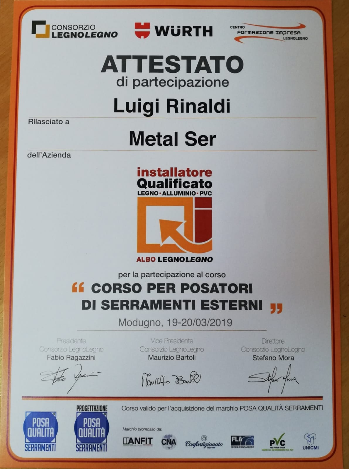 attestato metalser